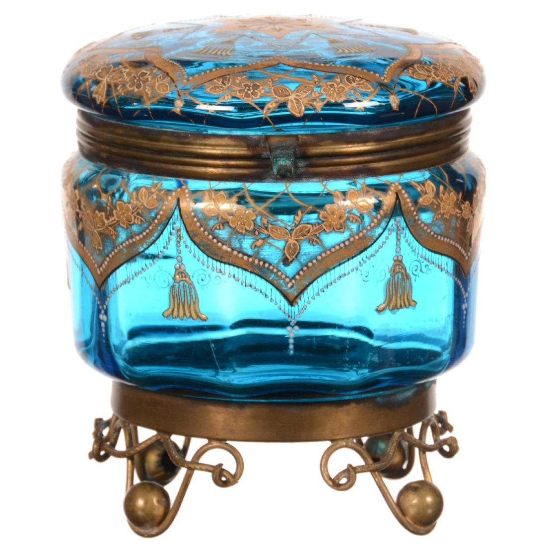 Art Glass Round Hinged Box