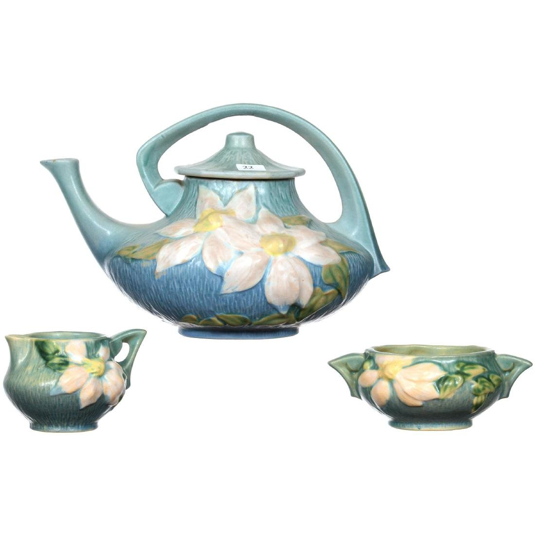 Three Piece Roseville Art Pottery Tea Set