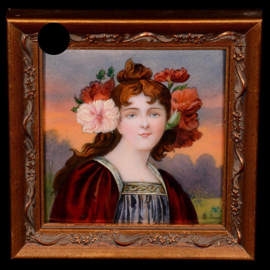 French Enamel Portrait Plaque