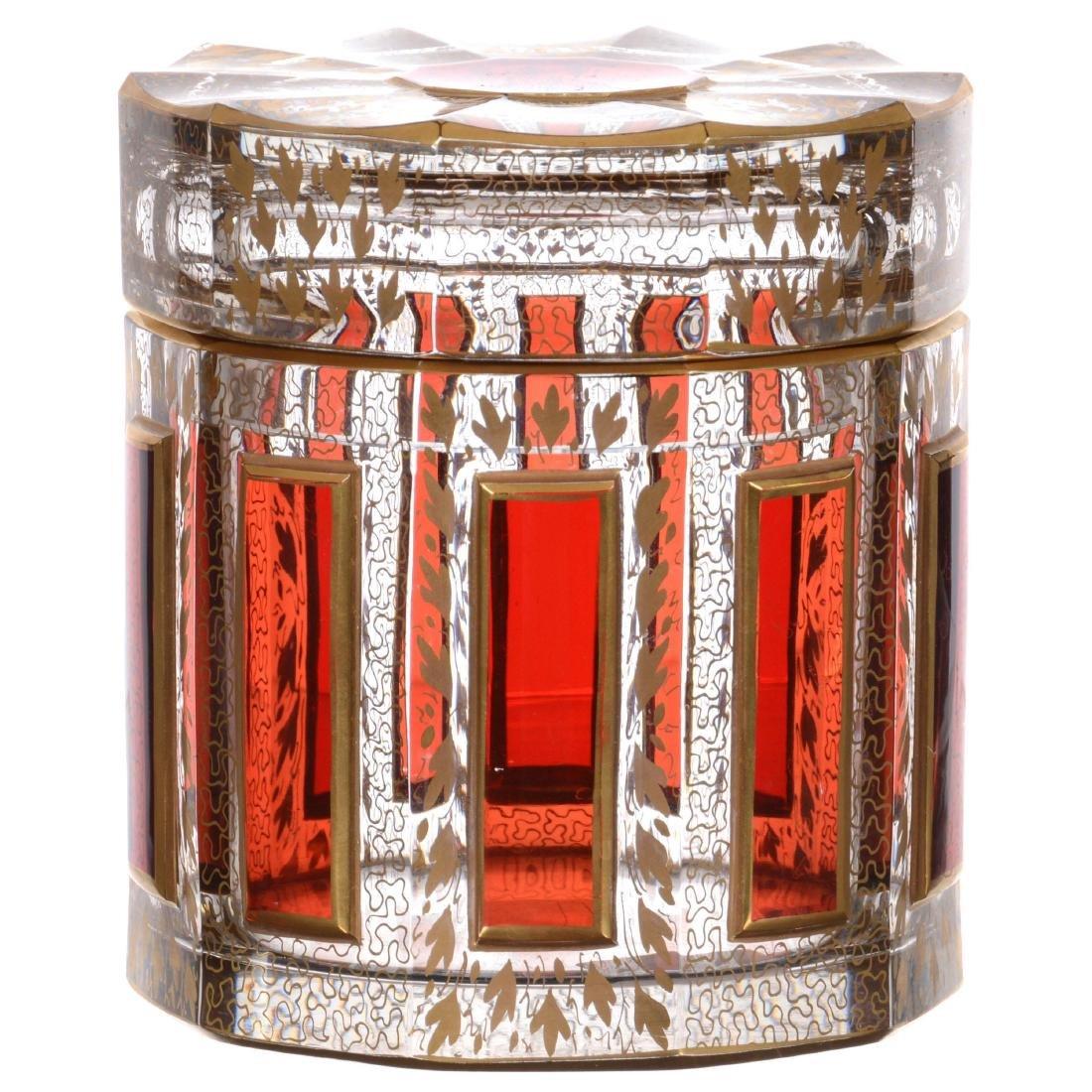 Bohemian Art Glass Covered Box