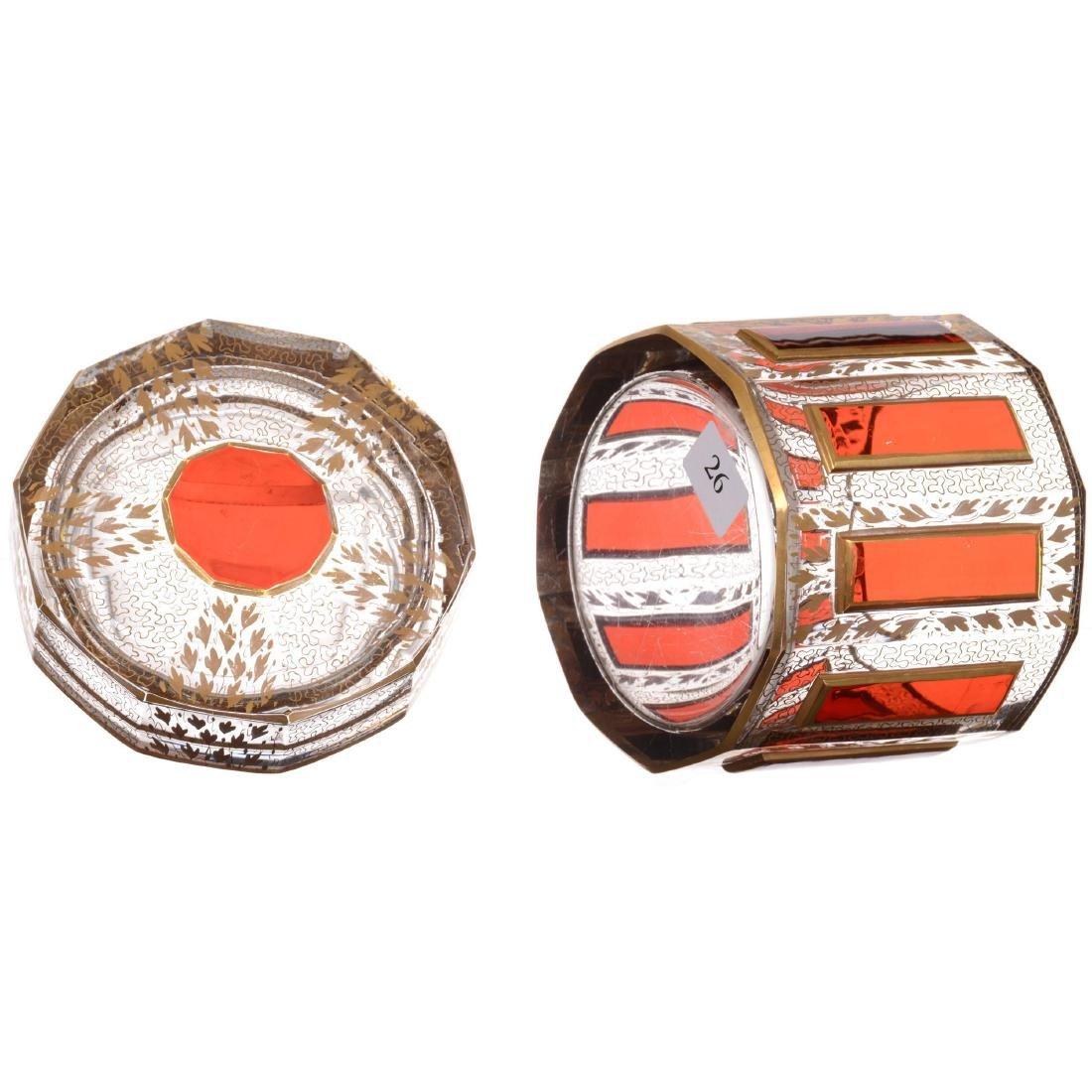 Bohemian Art Glass Covered Box - 2