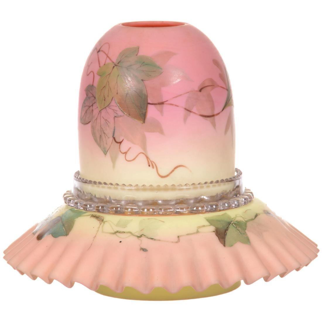 Decorated Burmese Art Glass Fairy Lamp