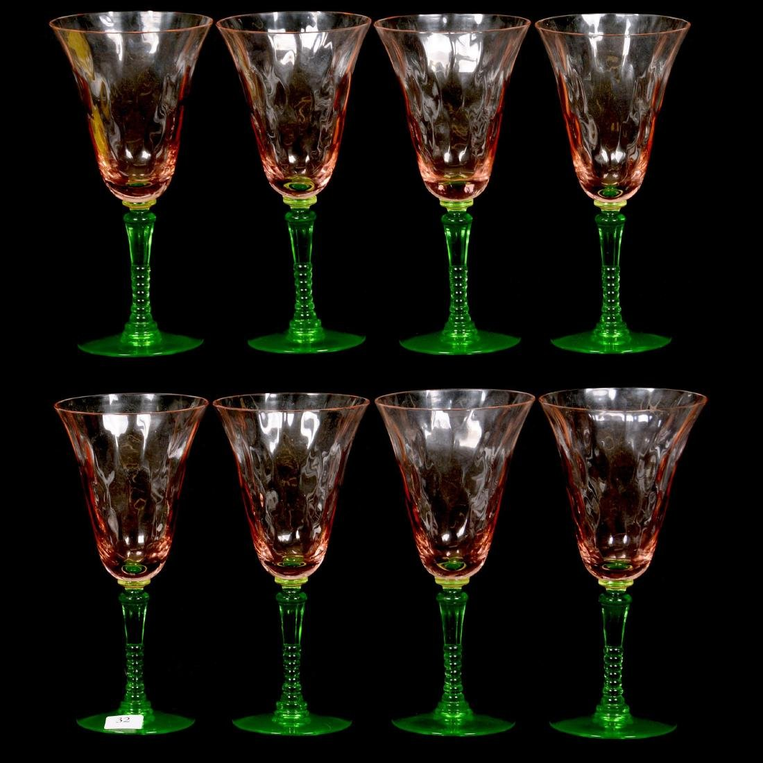 (8) Tiffin Art Glass Stems