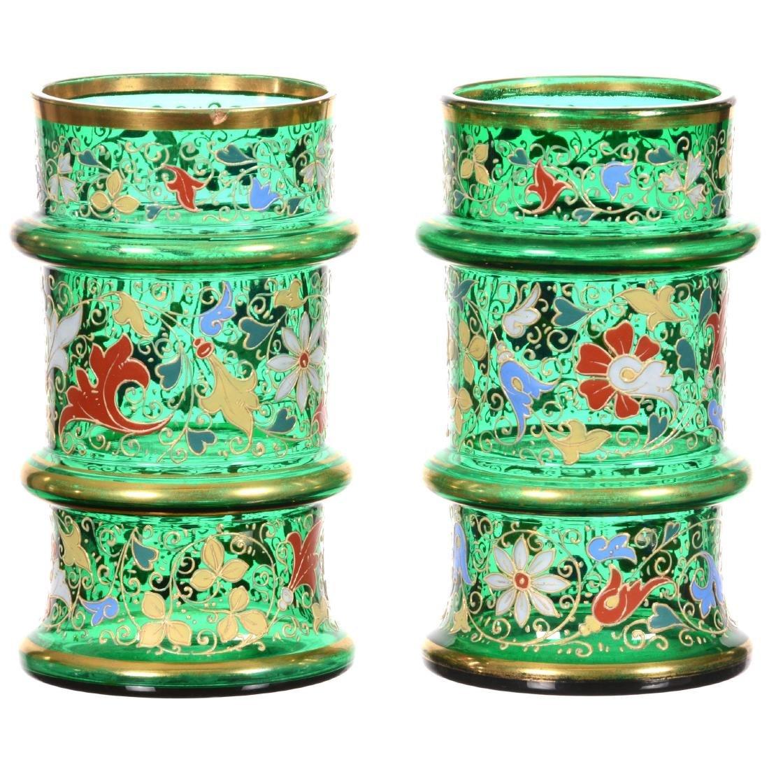 Pair Emerald Green Art Glass Cylinder Vases