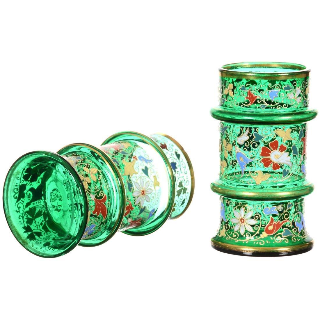 Pair Emerald Green Art Glass Cylinder Vases - 2