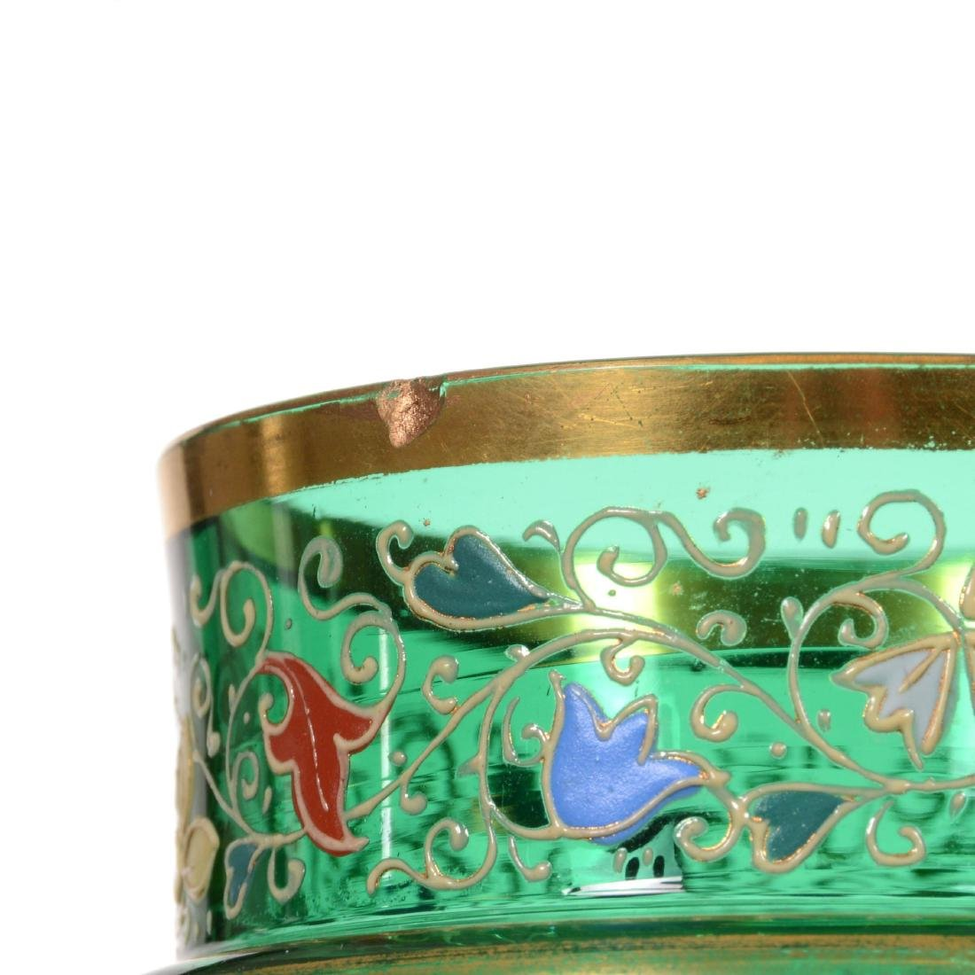 Pair Emerald Green Art Glass Cylinder Vases - 3