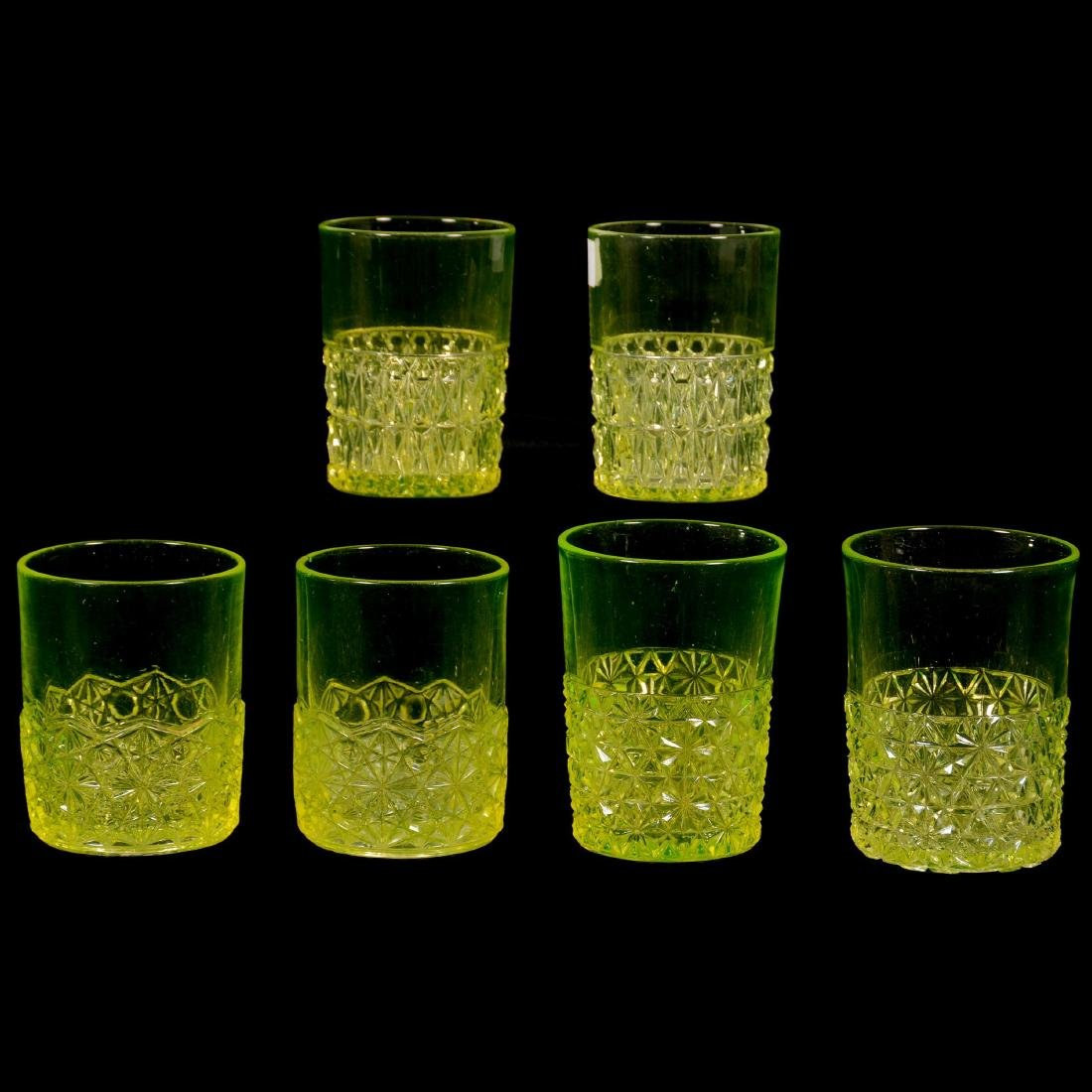 Six Antique Vaseline Tumblers