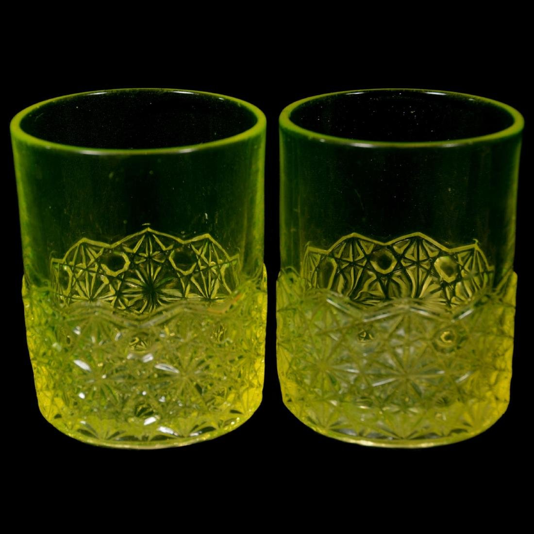 Six Antique Vaseline Tumblers - 4