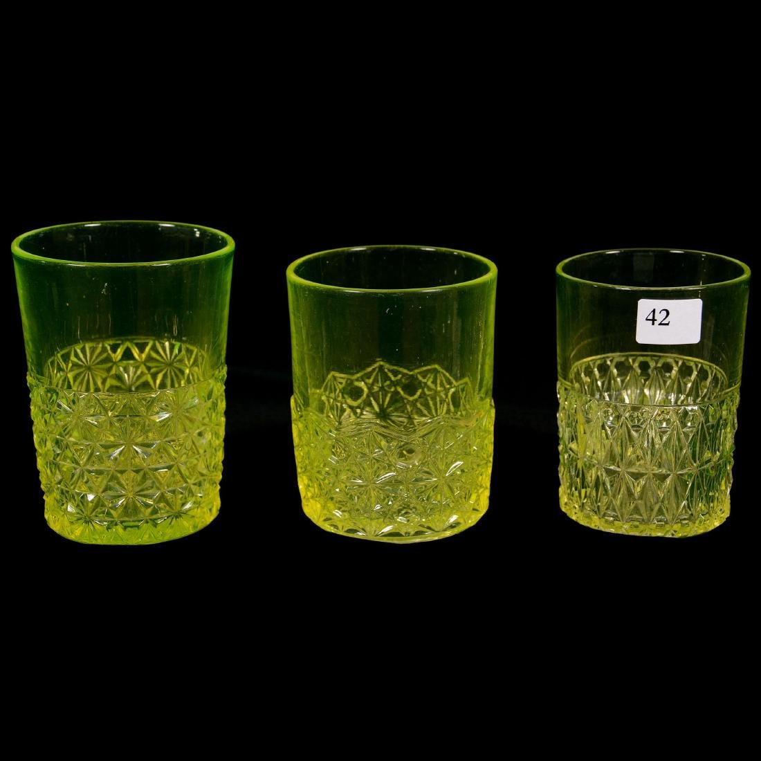 Six Antique Vaseline Tumblers - 5