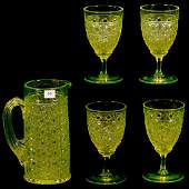 Five Piece Antique Vaseline Water Set