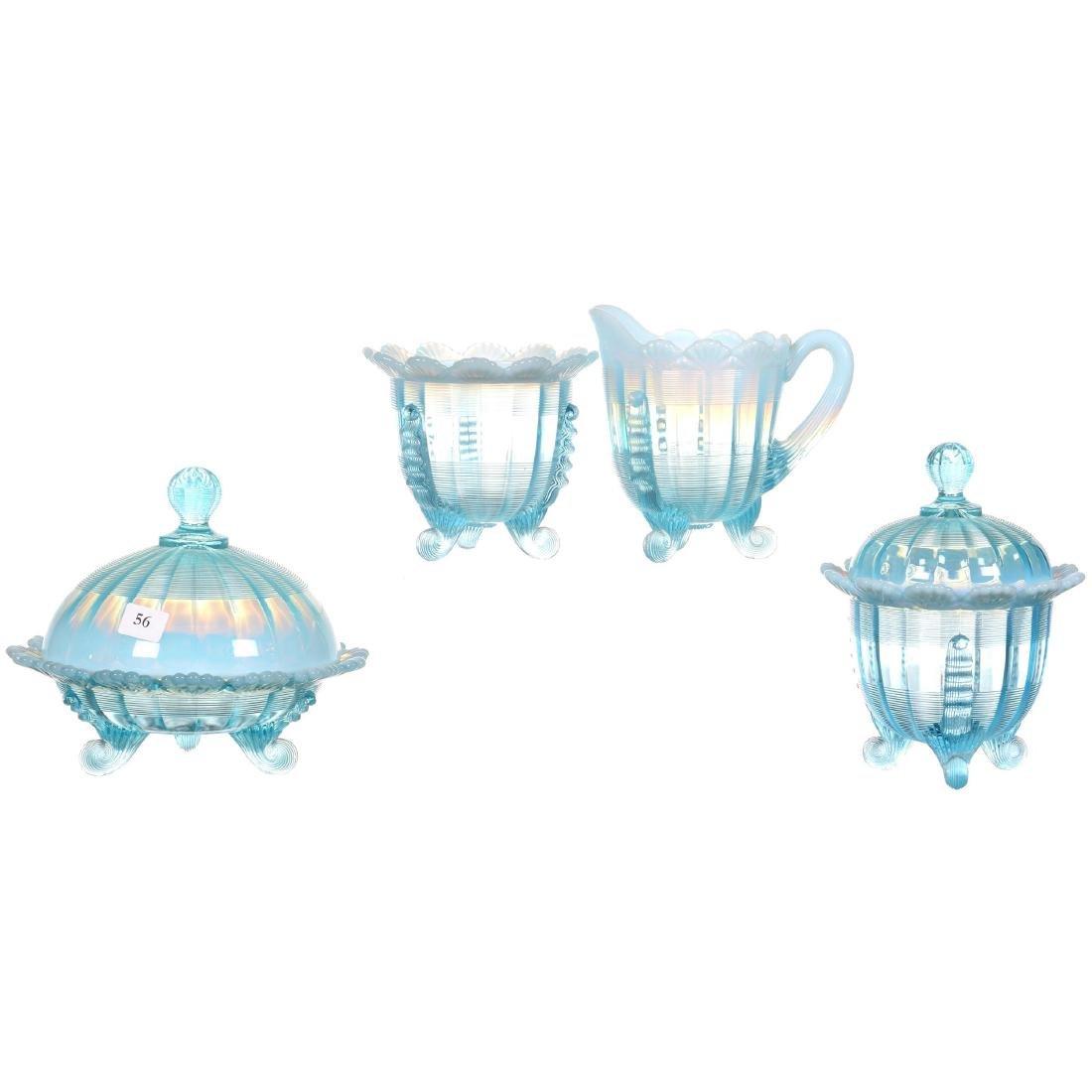 Four Piece Blue Opalescent Table Set