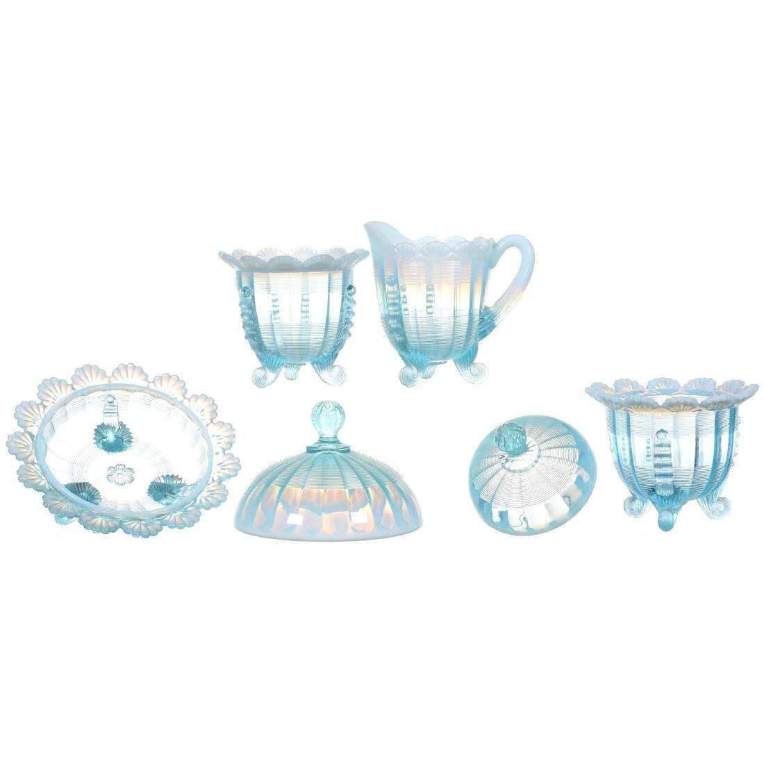 Four Piece Blue Opalescent Table Set - 2