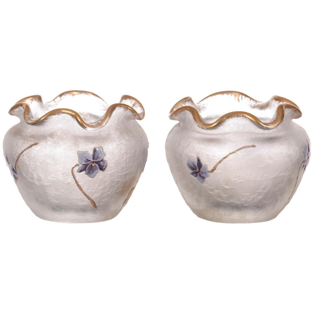 Pair Unmarked Mt. Joye Small Art Glass Vases