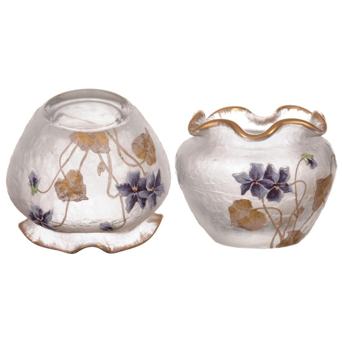 Pair Unmarked Mt. Joye Small Art Glass Vases - 2