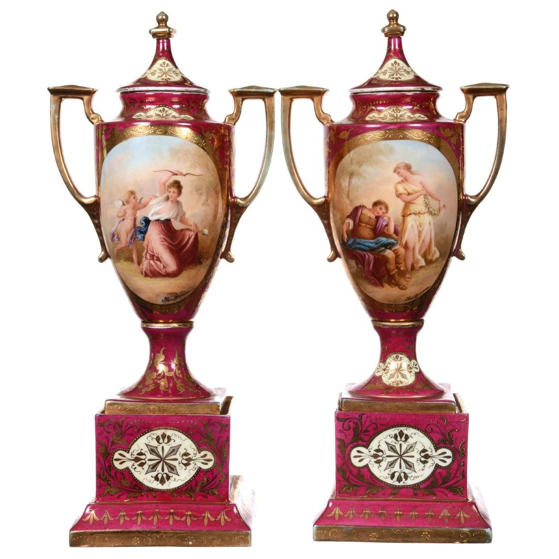 Pair Marked Beehive Pedestal Covered Urns