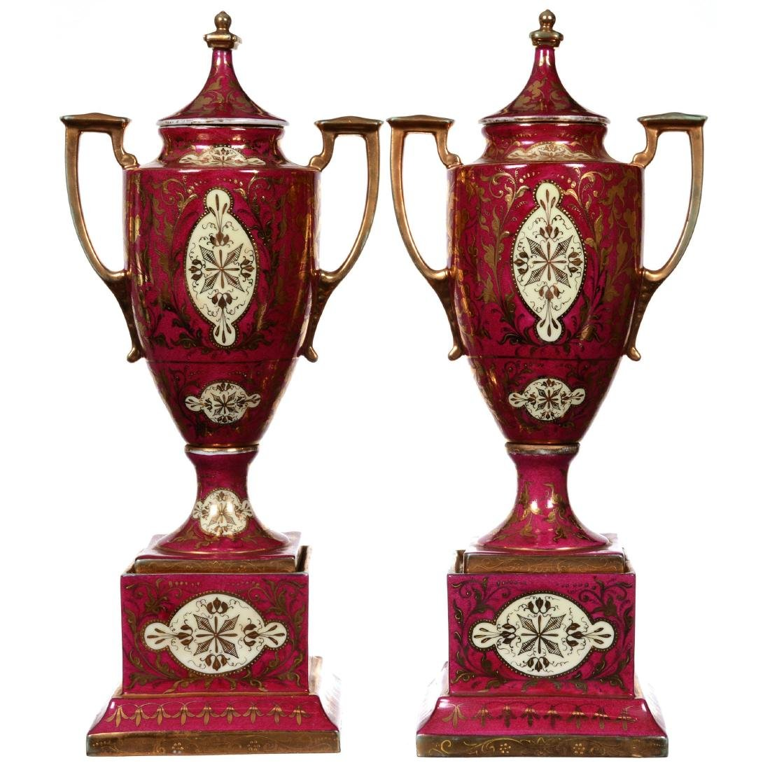 Pair Marked Beehive Pedestal Covered Urns - 2