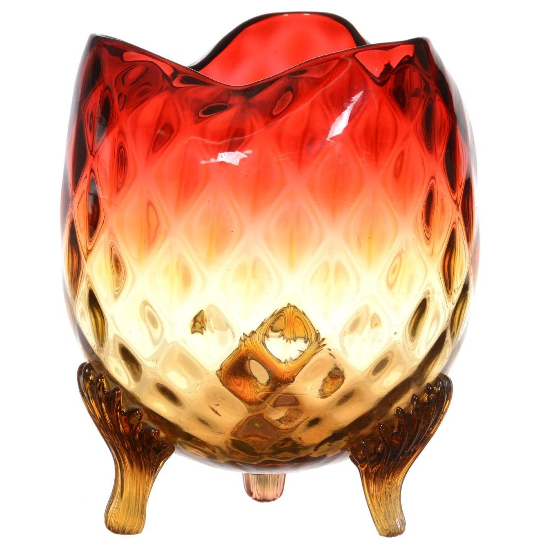 Amberina Art Glass Footed Vase