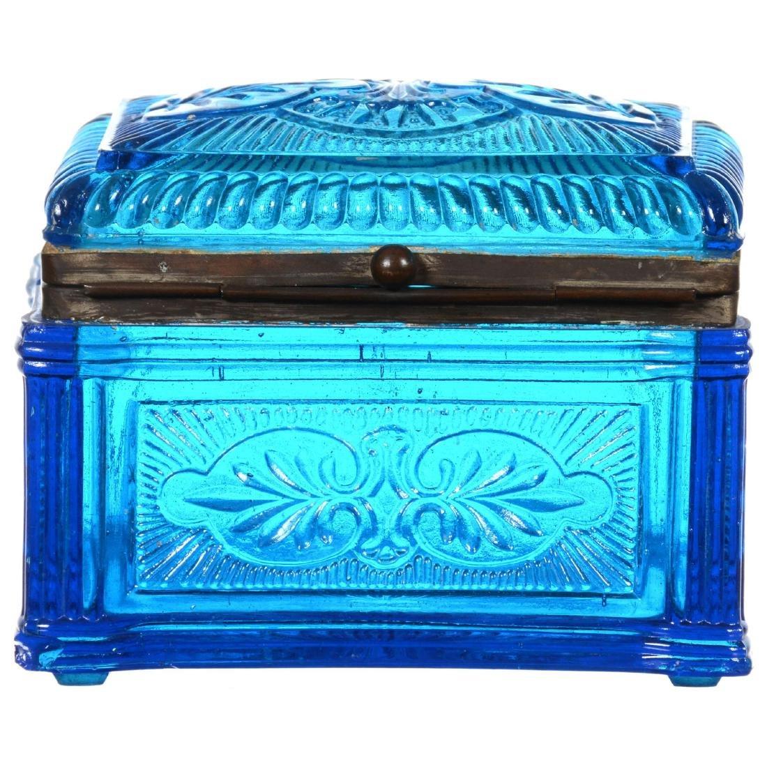 Blue Pattern Glass Hinged Box