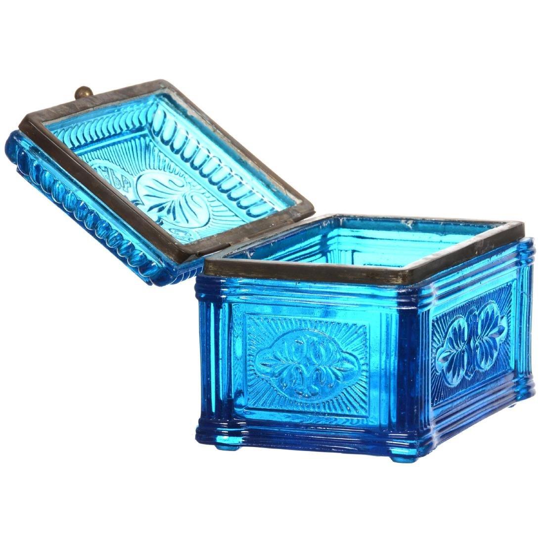 Blue Pattern Glass Hinged Box - 2