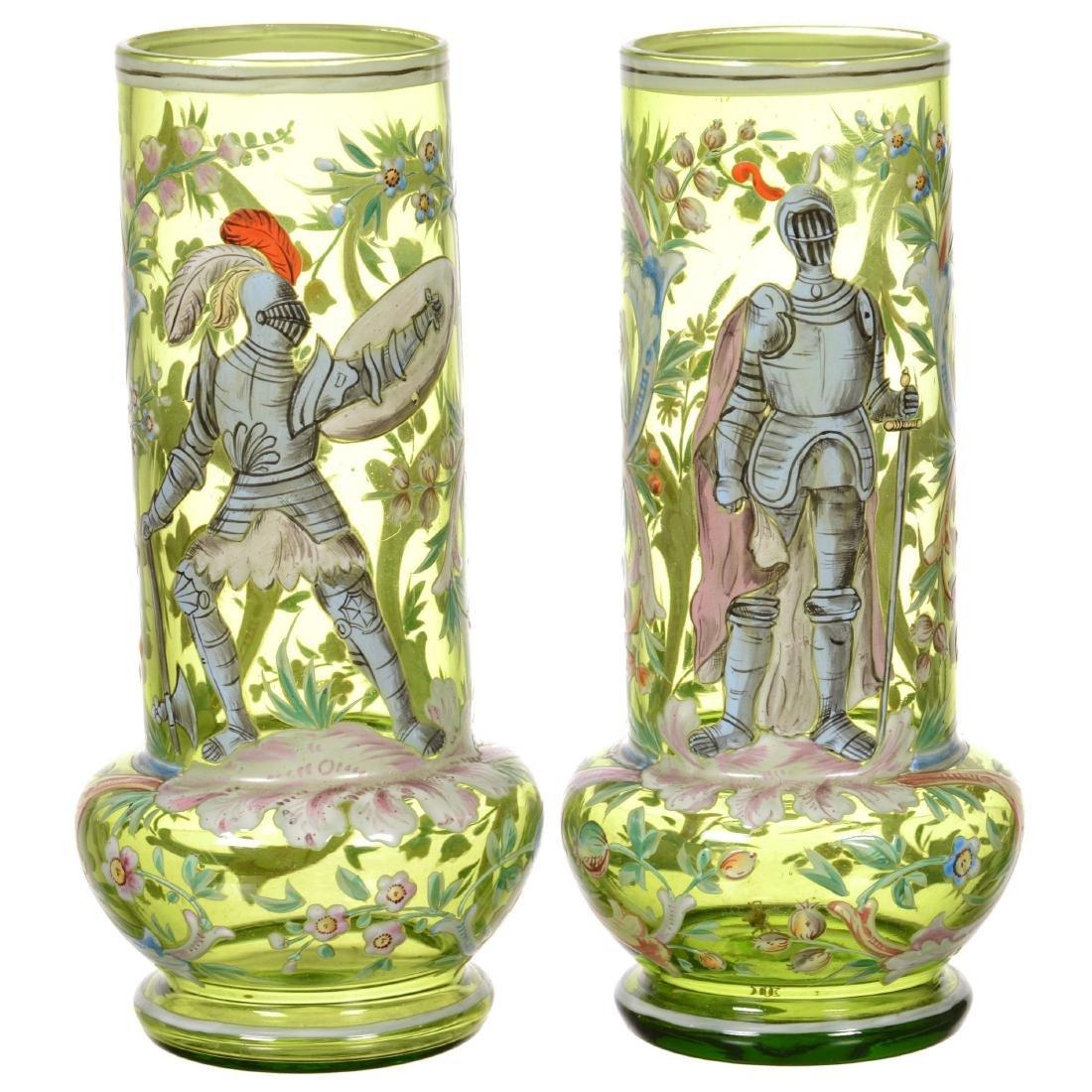 Pair Moser Style Art Glass Vases