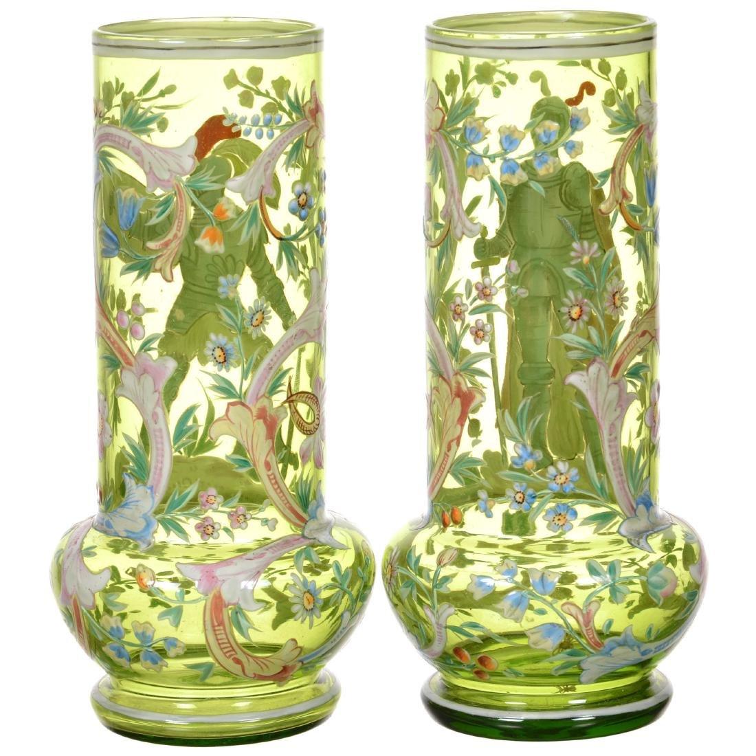 Pair Moser Style Art Glass Vases - 2