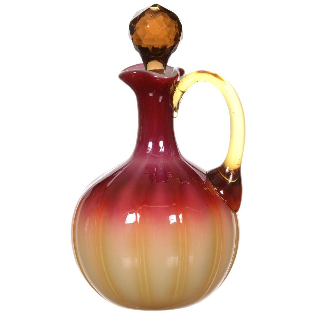 Plated Amberina Art Glass Cruet by New England Glass