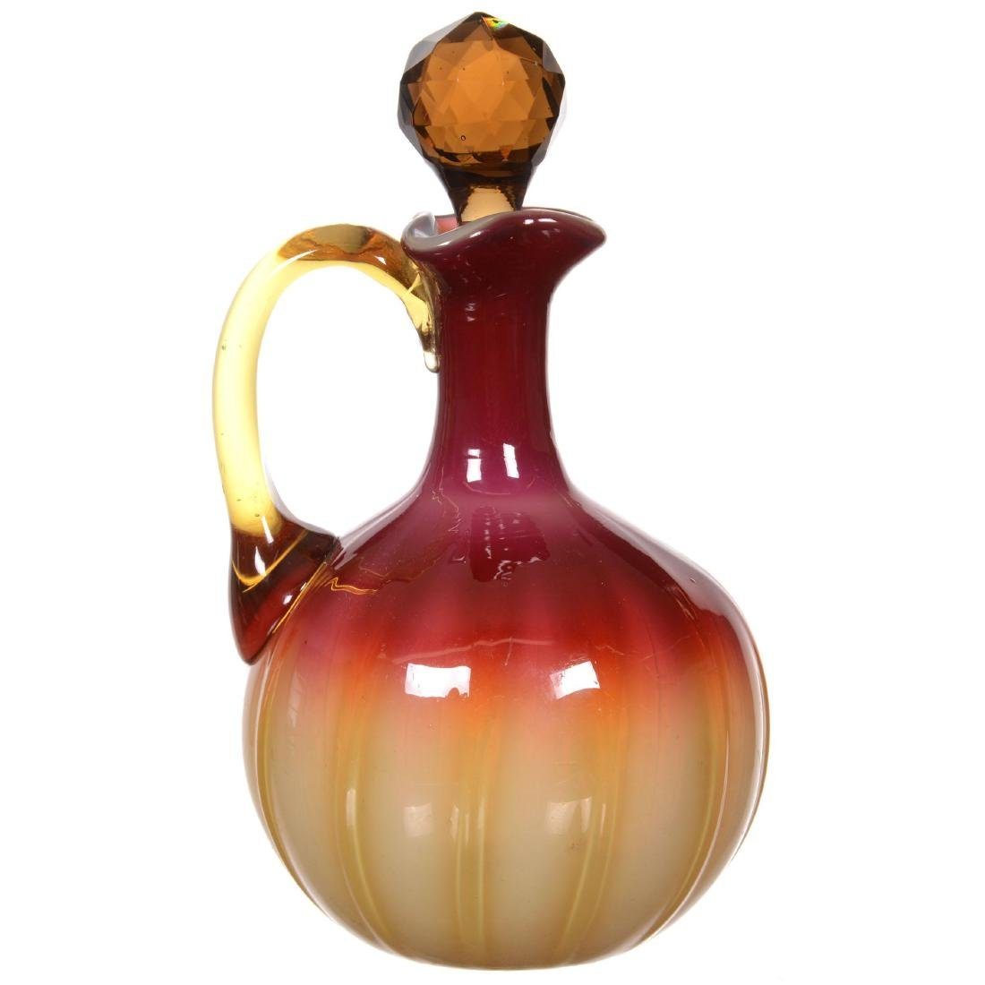 Plated Amberina Art Glass Cruet by New England Glass - 2