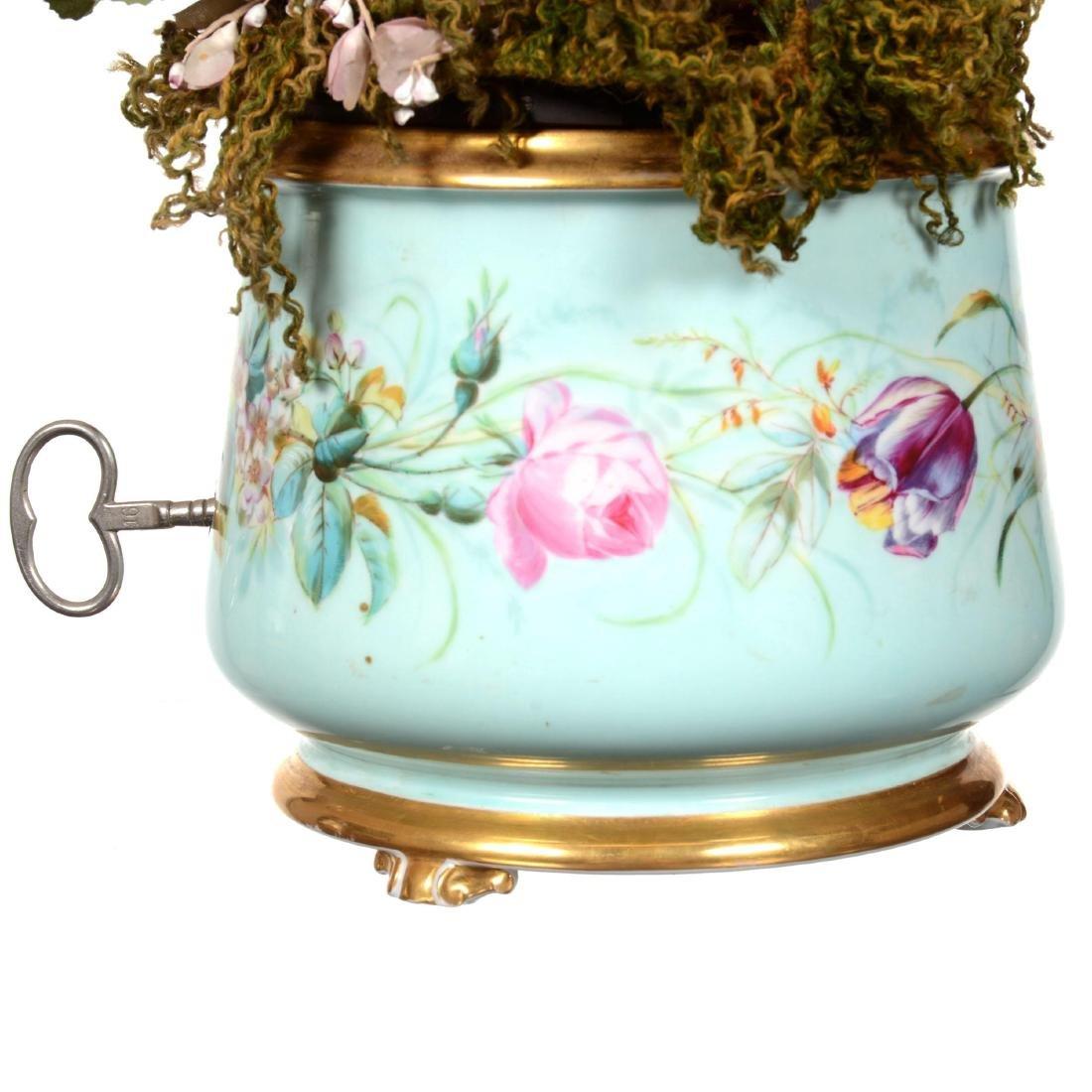 Extremely Rare Old Paris Porcelain Mechanical Ferner - 3