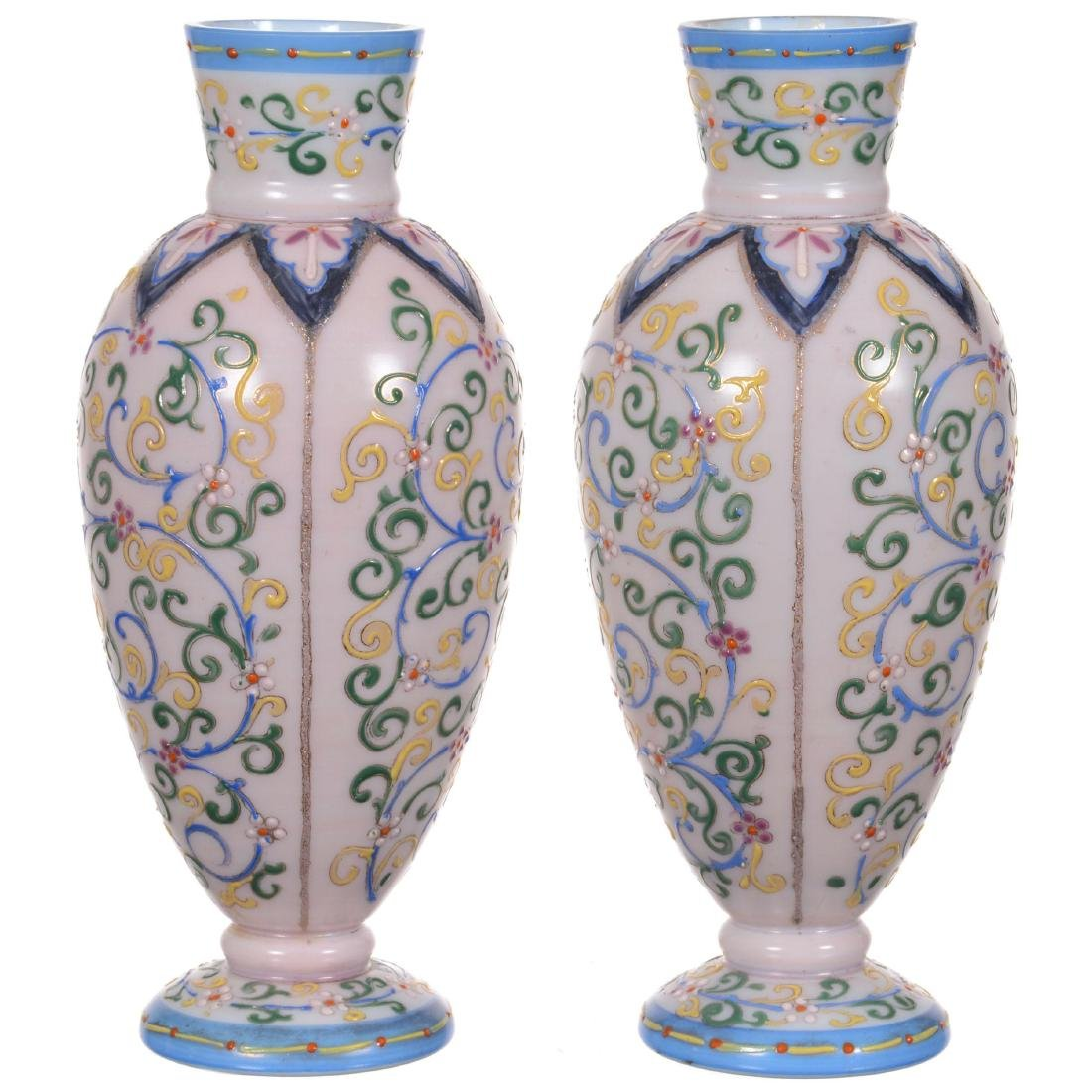 Pair Art Glass Vases