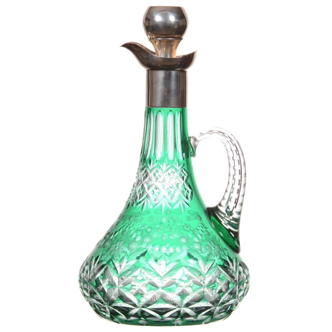 Green Cut to Clear Decanter