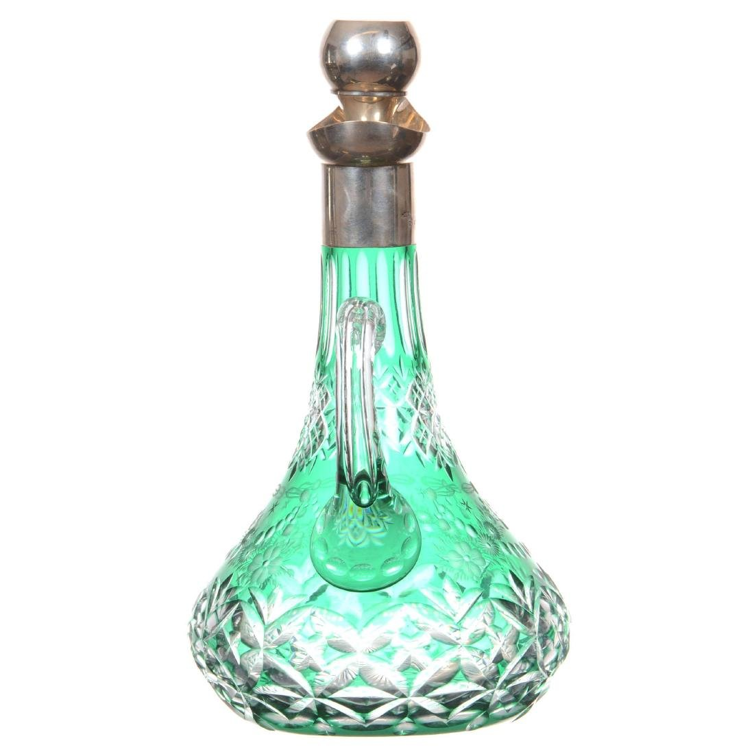 Green Cut to Clear Decanter - 2