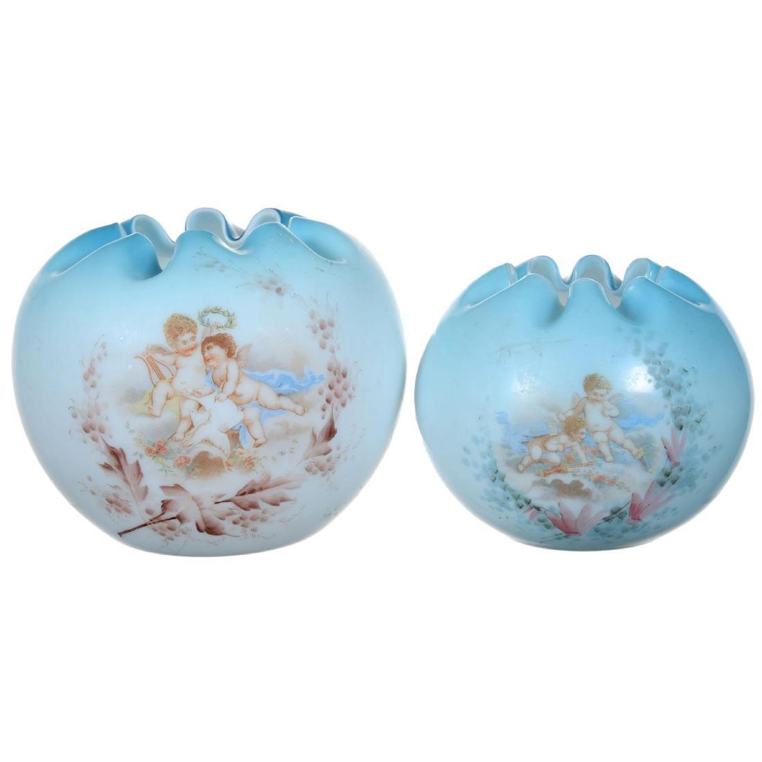 (2) Blue Art Glass Rose Bowls