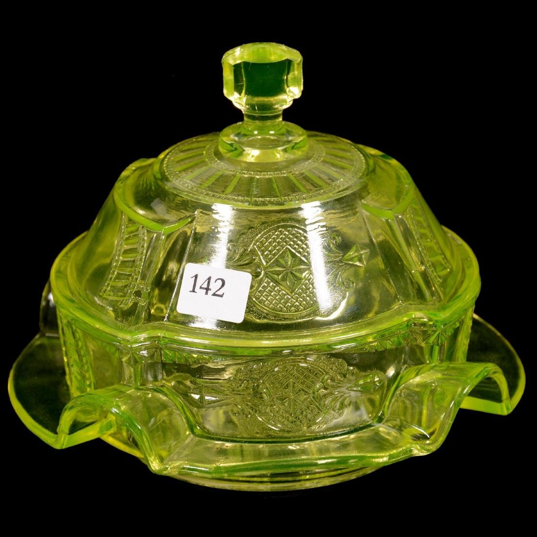 Antique Vaseline Covered Butter Dish
