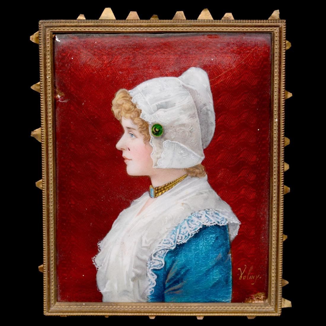 French Enamel on Copper Plaque