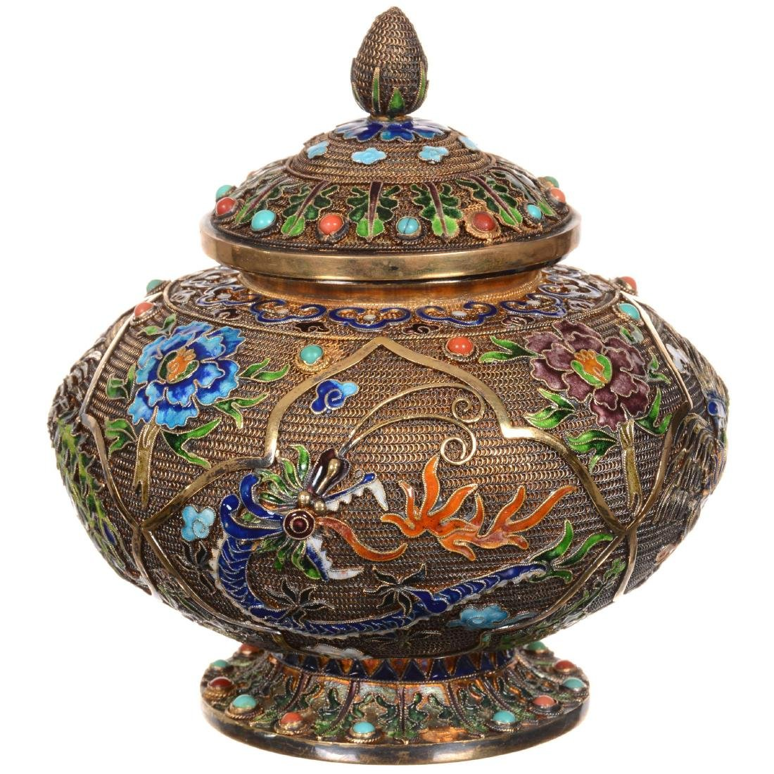 Chinese Elaborate Gilded Silver & Enameled Squat Jar wi