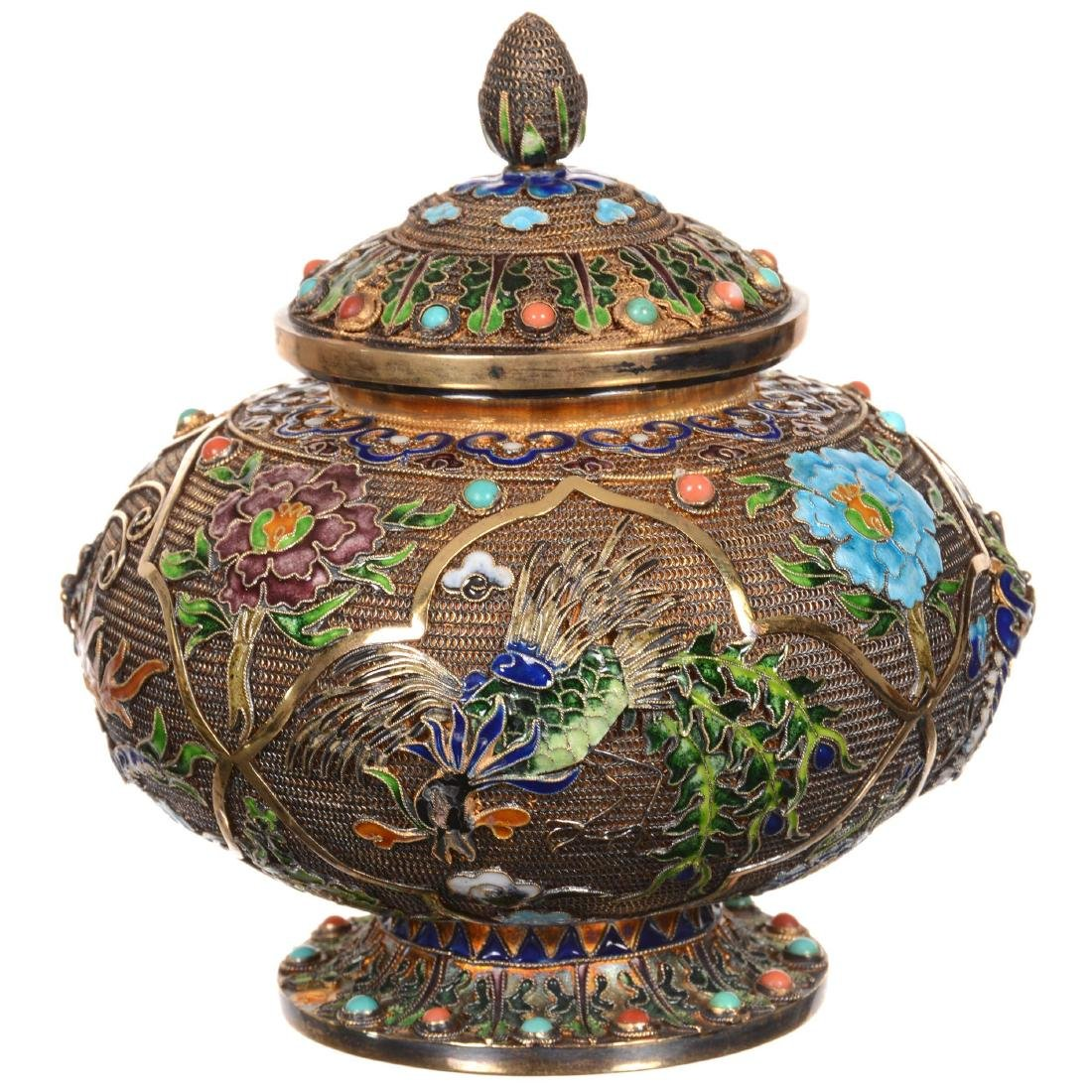 Chinese Elaborate Gilded Silver & Enameled Squat Jar wi - 2