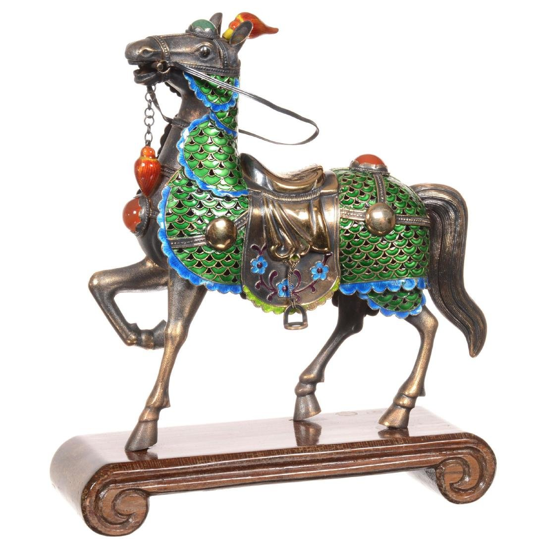 Chinese Gilded Metal and Enameled Horse on Teakwood Sta