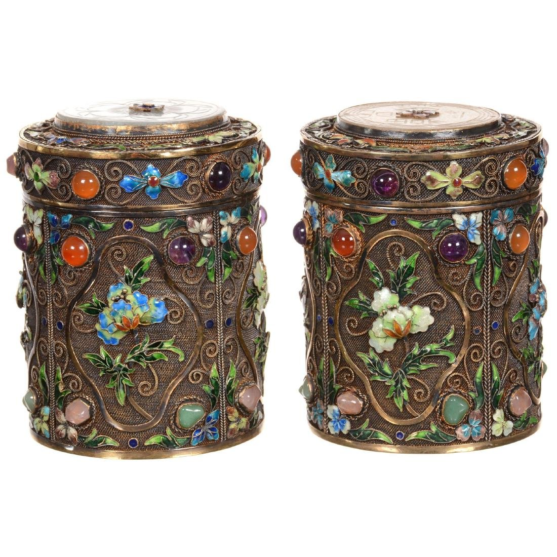 Pair of Chinese Enameled Gilded Silver Jars