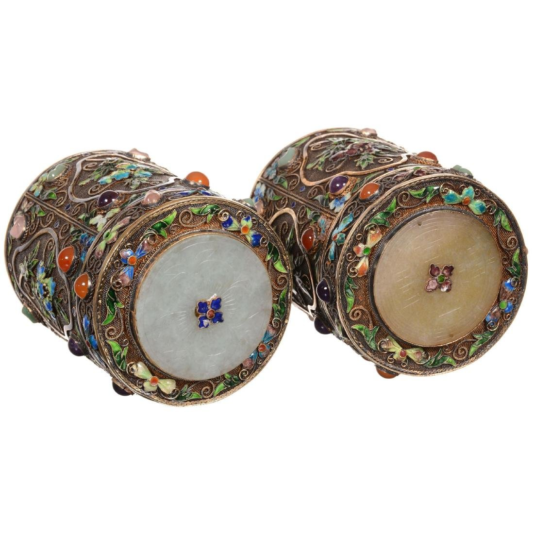 Pair of Chinese Enameled Gilded Silver Jars - 2