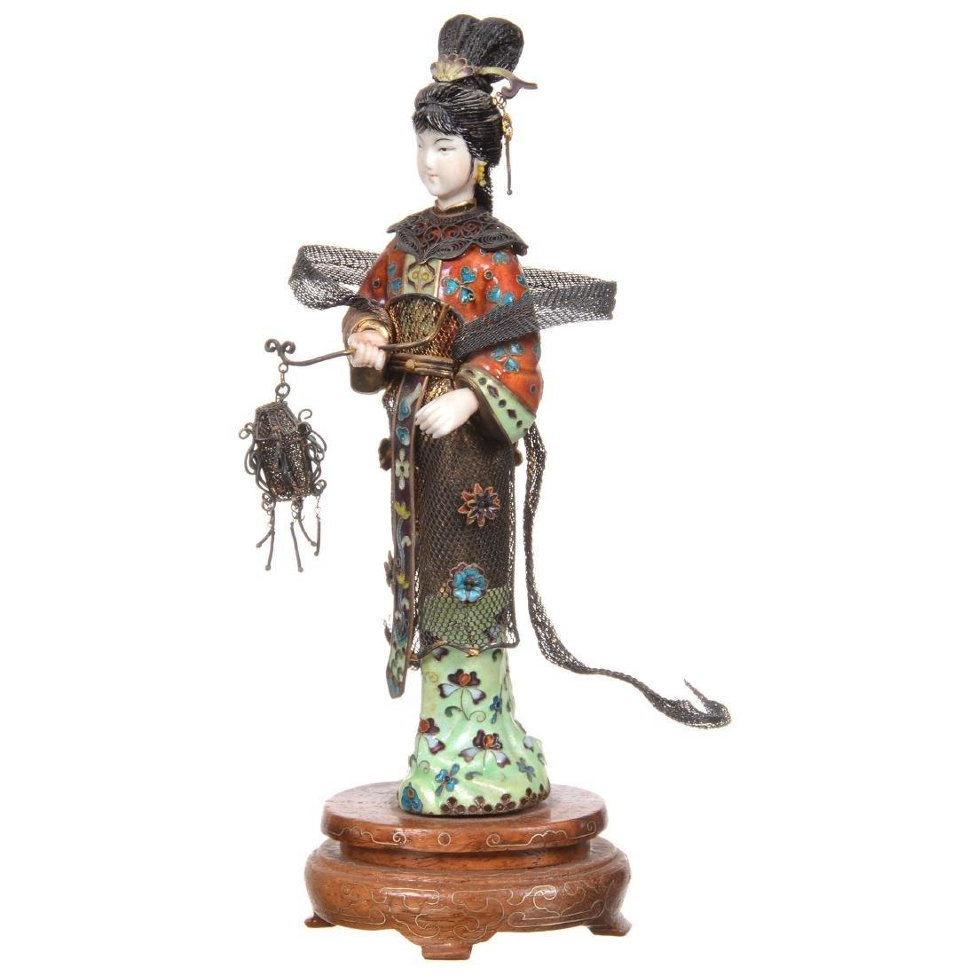 Chinese Silver and Enamel Female Figure Holding Lantern