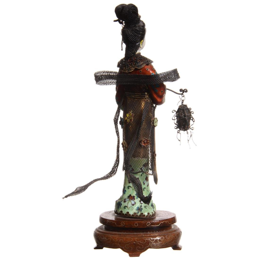 Chinese Silver and Enamel Female Figure Holding Lantern - 2