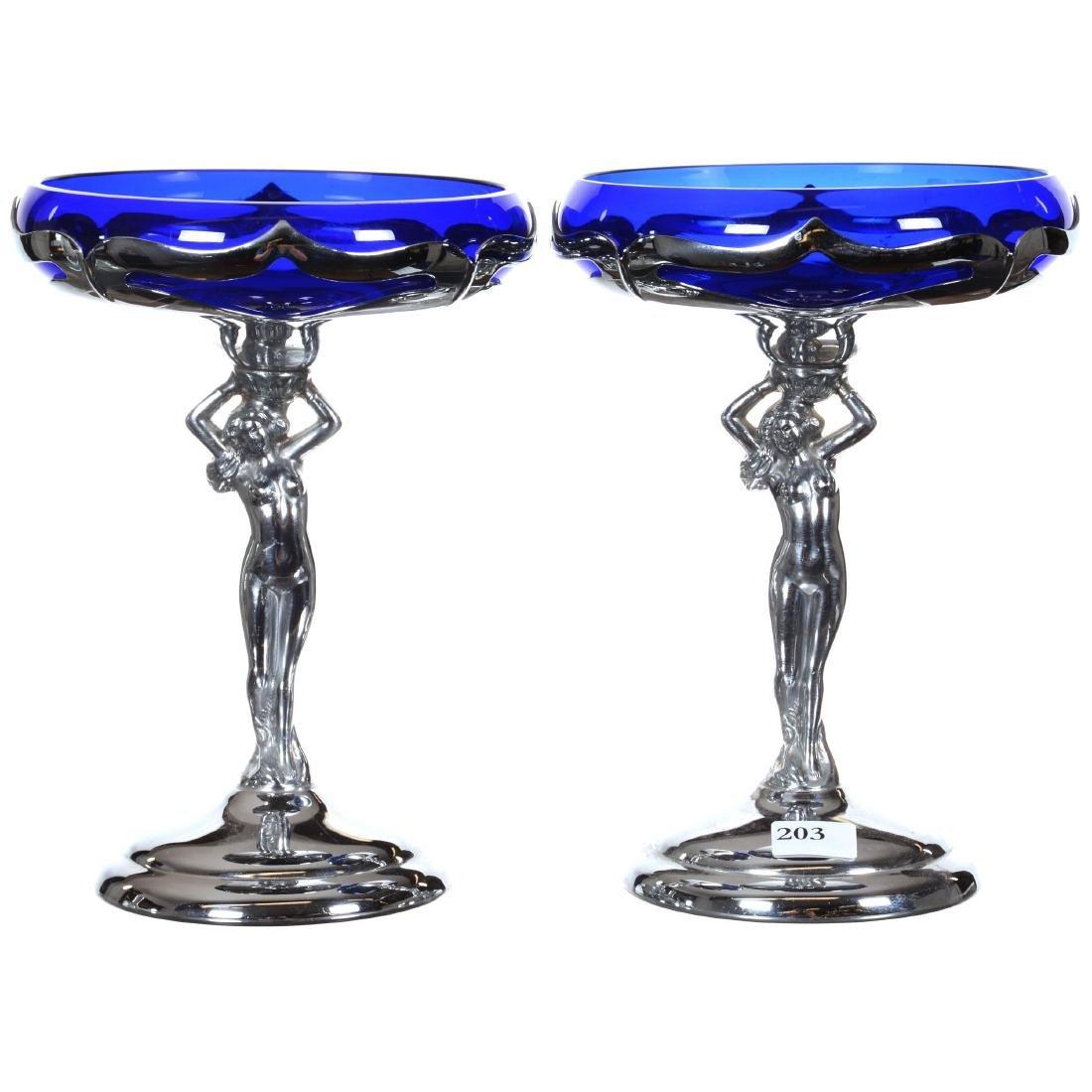 Pair Figural Farberware Compotes