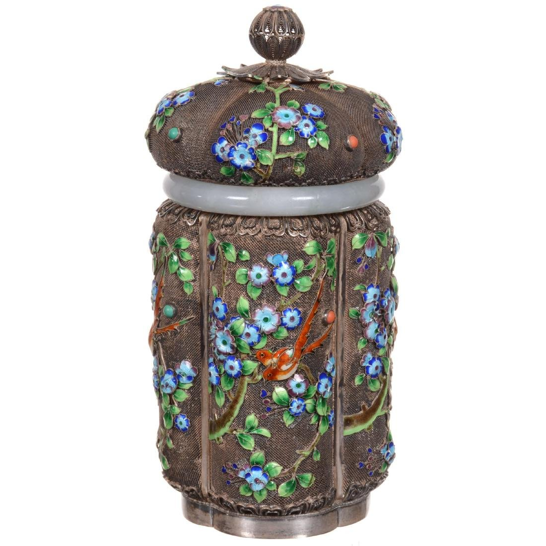 Chinese Enameled Silver Tea Caddy with Jade Collar