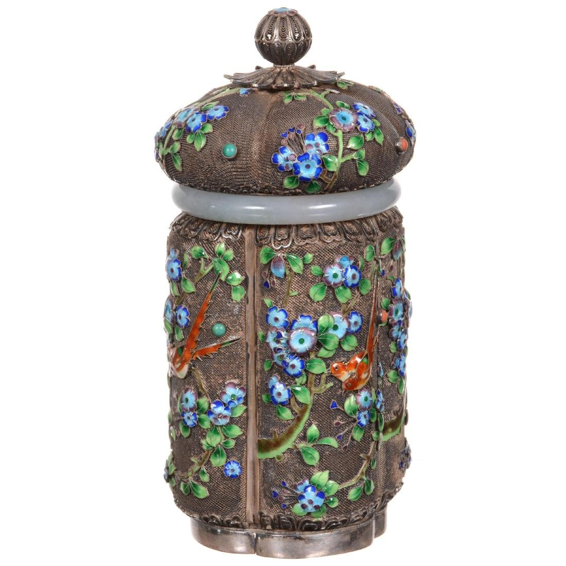 Chinese Enameled Silver Tea Caddy with Jade Collar - 2