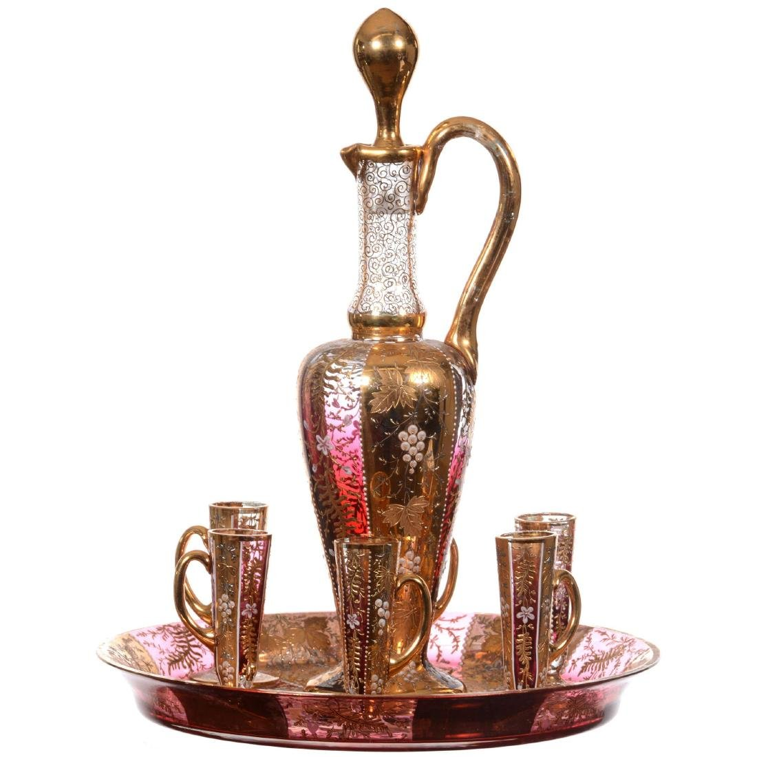 Unmarked Moser Style Liqueur Set