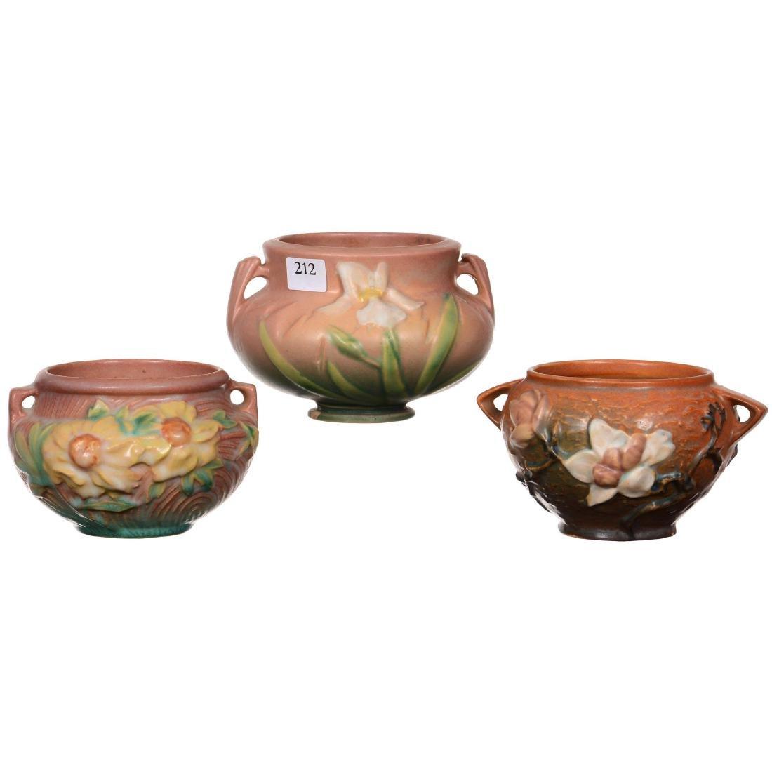 (3) Roseville Art Pottery Bowls