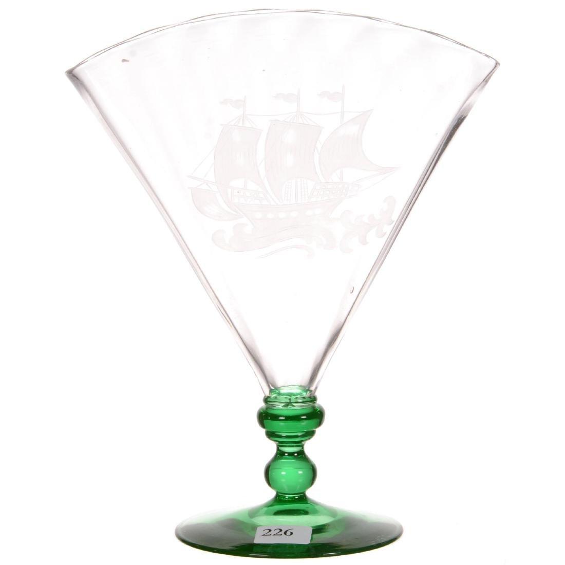 Unmarked Steuben Art Glass Fan Vase