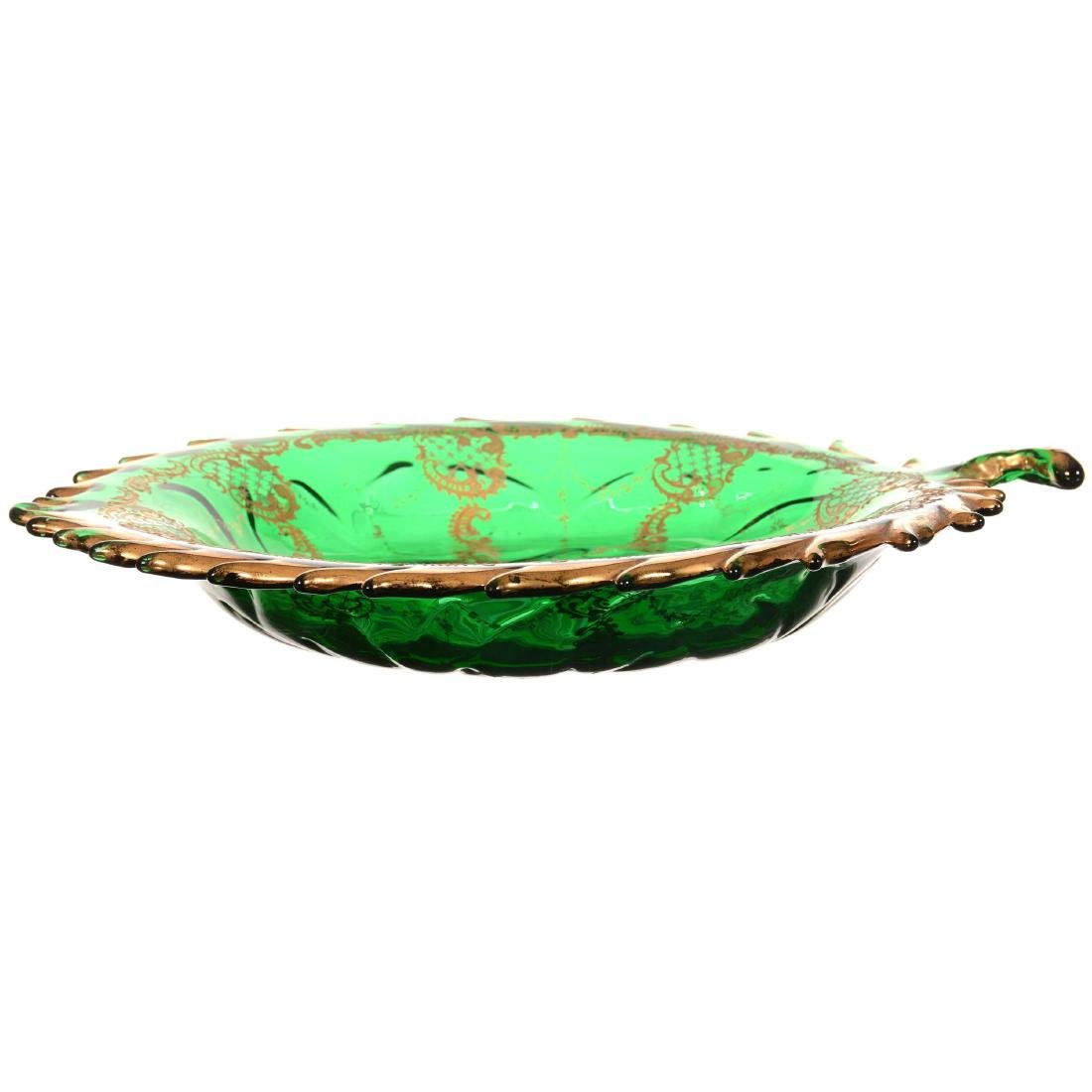 Leaf Shaped Art Glass Tray - 2