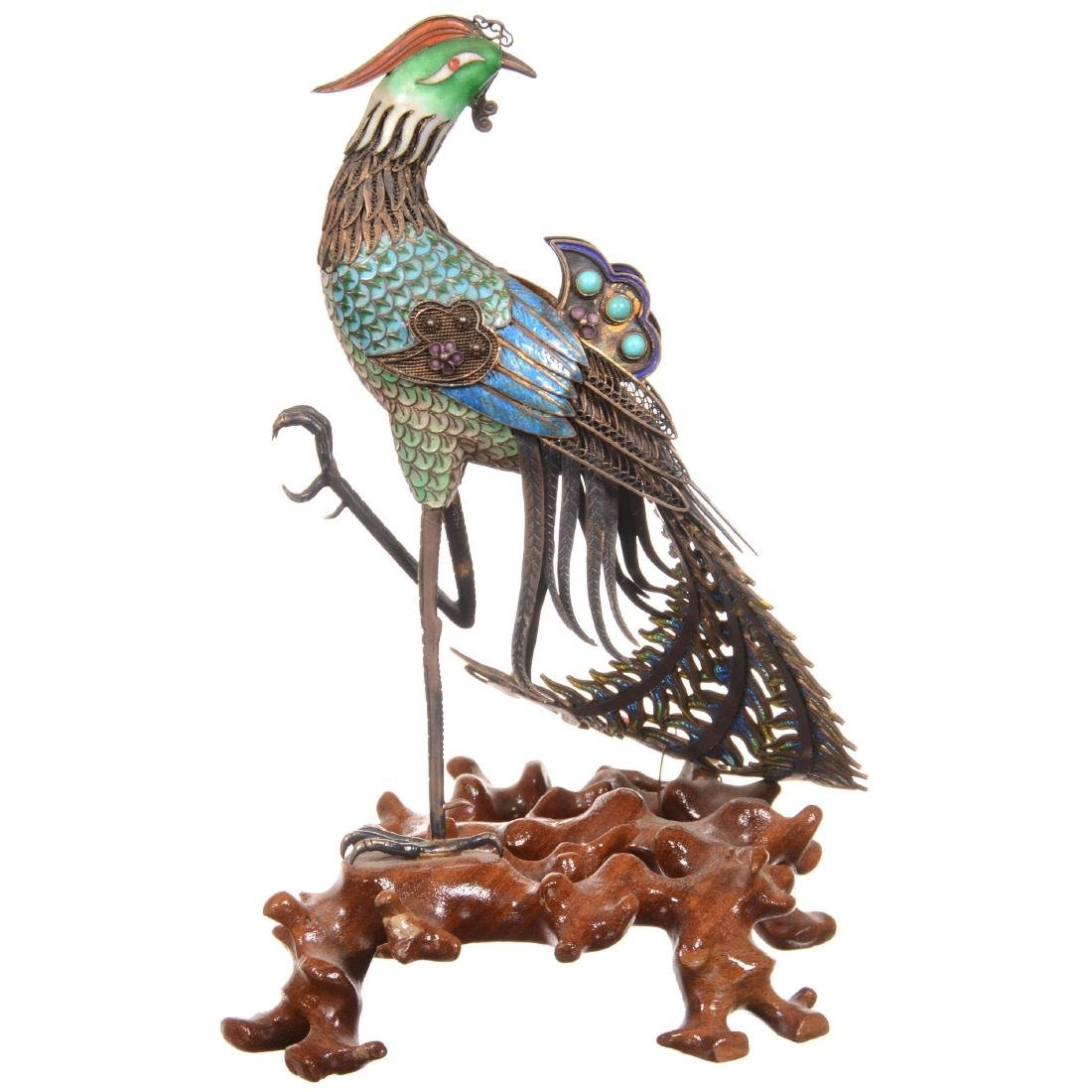 Chinese Silver & Enamel Figural Peacock on Teakwood Sta - 2