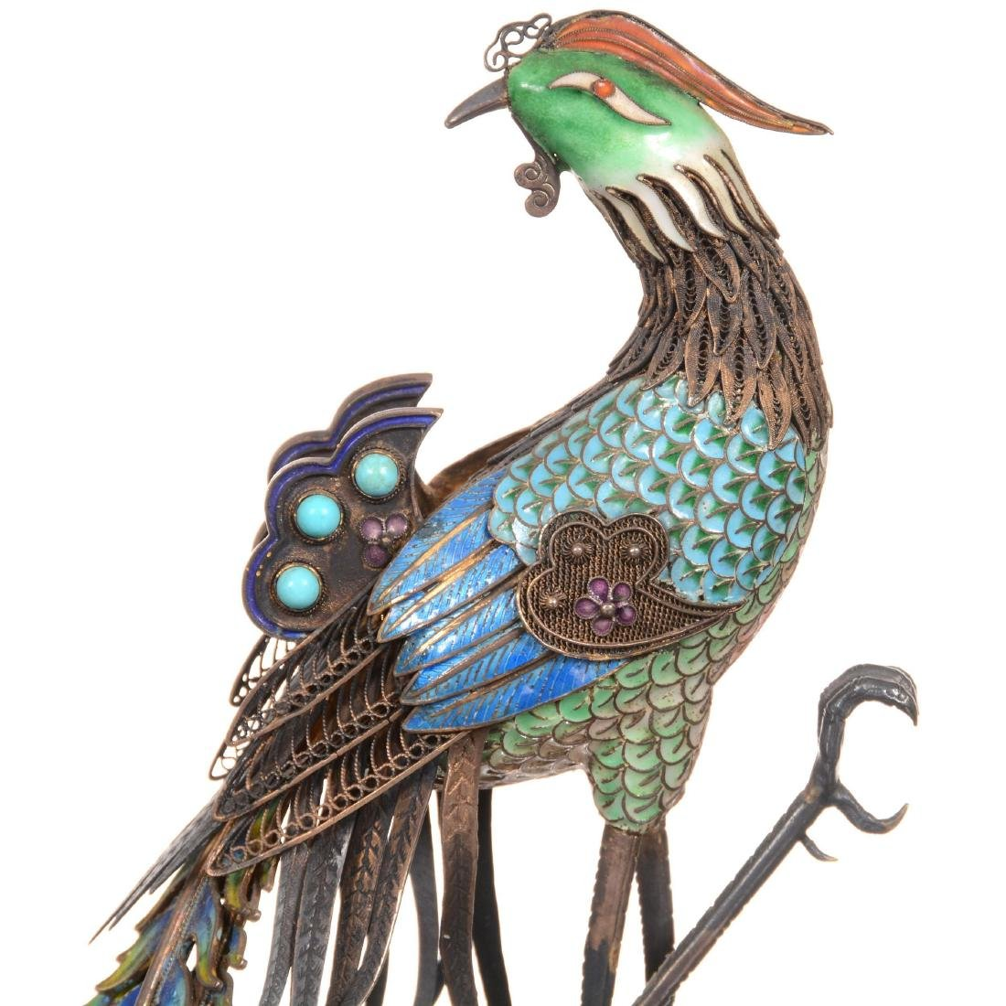 Chinese Silver & Enamel Figural Peacock on Teakwood Sta - 3
